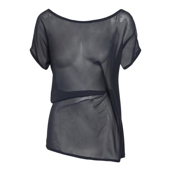 T-shirt semitrasparente con drappeggio                                                                                                                Ann Demeulemeester 2102WTO03 retro