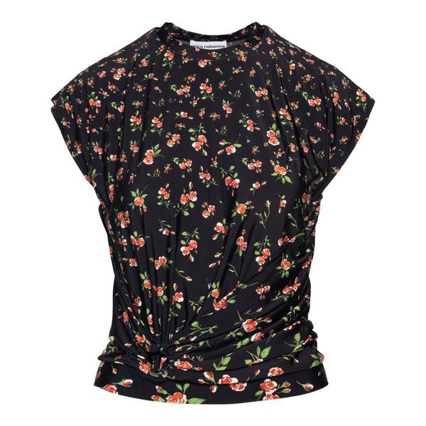 Blusa nera a fiori                                                                                                                                    Paco Rabanne 21AJTO210VI0296 retro