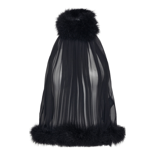 Semi-transparent black top with feathers                                                                                                              Saint Laurent 660945 back