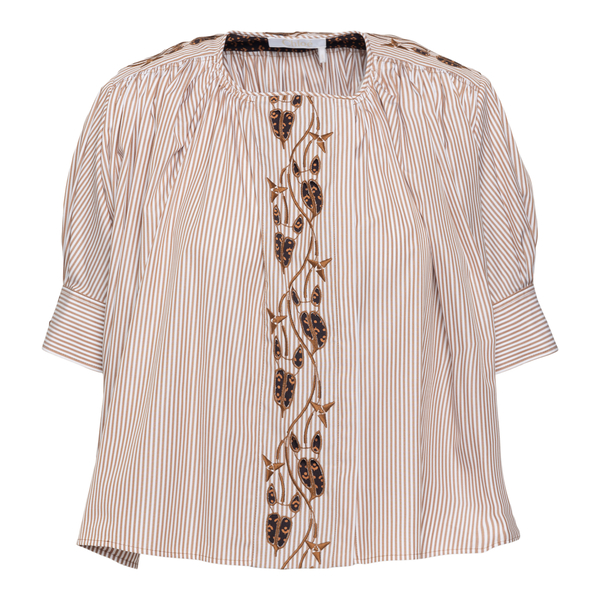 Striped blouse with embroidery                                                                                                                        Chloe' C21UHT01 back