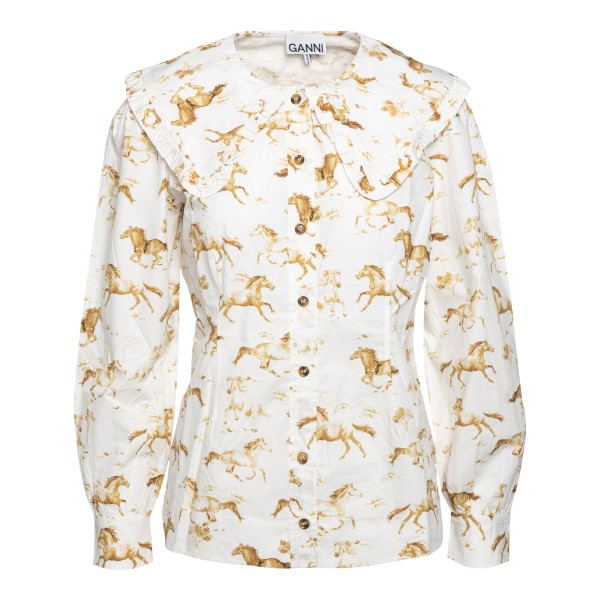 White blouse with animal print                                                                                                                        Ganni F5452 front