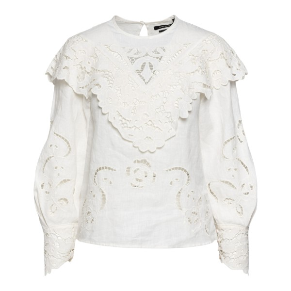 Ecru top with lace applications                                                                                                                       Isabel Marant HT1851 back