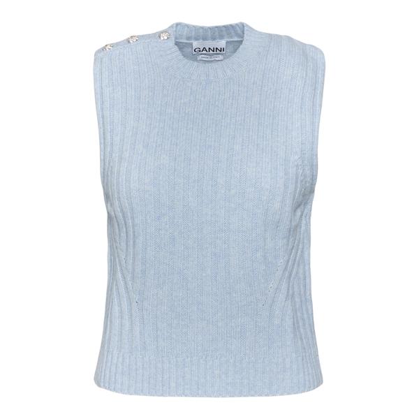 Blue knitted vest with crystals                                                                                                                       Ganni K1528 back