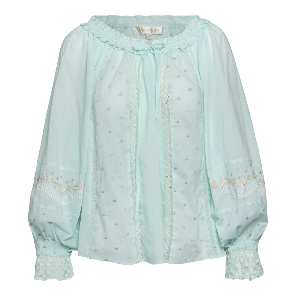 Mint blouse with embroidery                                                                                                                           Love shack fancy LT691728 front