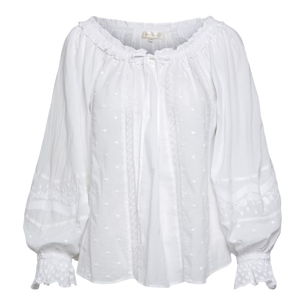 White blouse with embroidery                                                                                                                          Love shack fancy LT691728 front