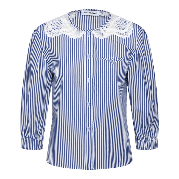 Blue striped shirt with lace collar                                                                                                                   Self Portrait SS21045TS back