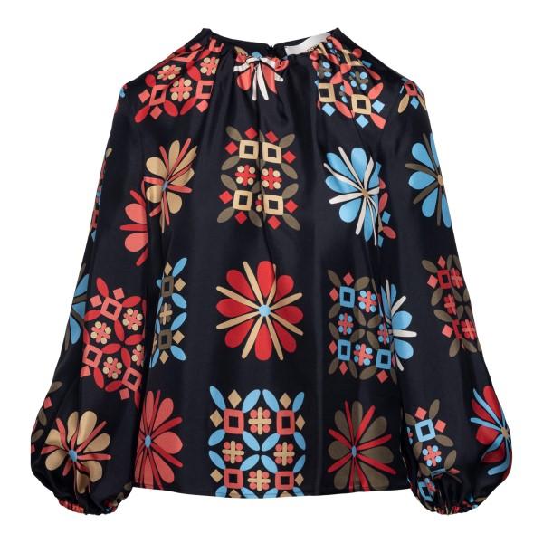 Blusa nera con stampe geometriche                                                                                                                     La double j TOP0021 fronte