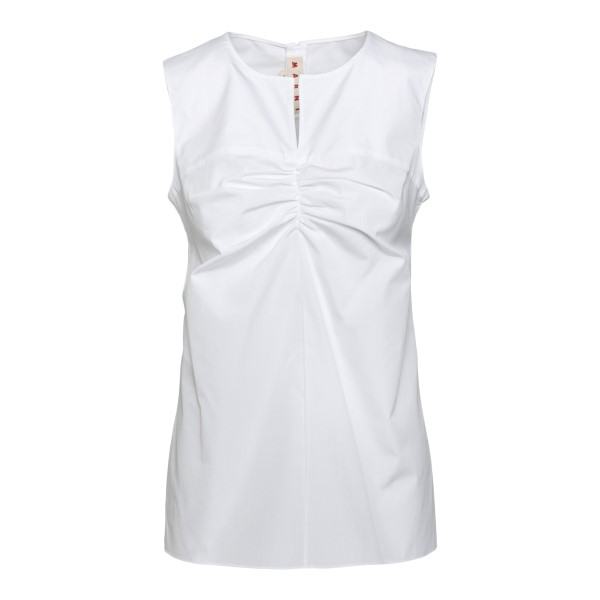 White sleeveless top with ruffles                                                                                                                     Marni TTMA0146A0 front