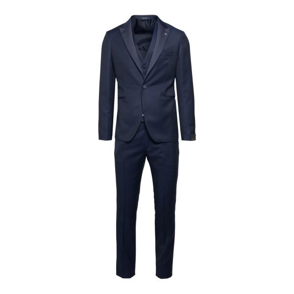 Elegant blue suit with logo                                                                                                                           Tagliatore EFBR15A01 back