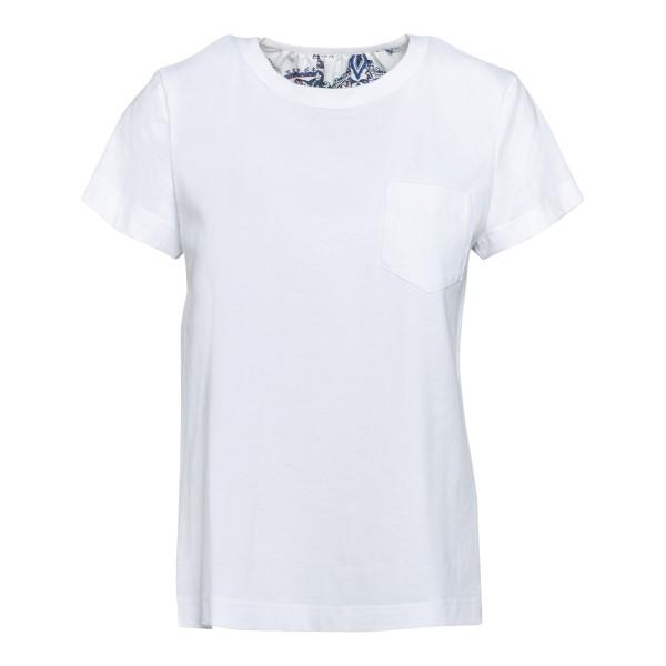 T-shirt bianca con drappeggi sul retro                                                                                                                Sacai 05442 fronte