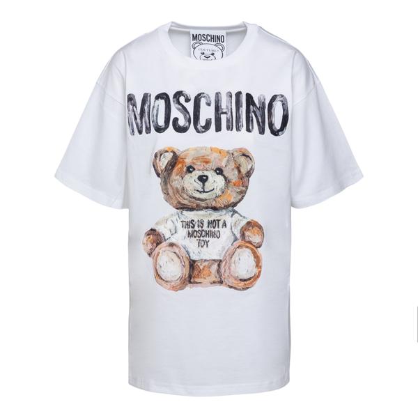 T-shirt bianca con orsetto peluche                                                                                                                    Moschino 0702 retro