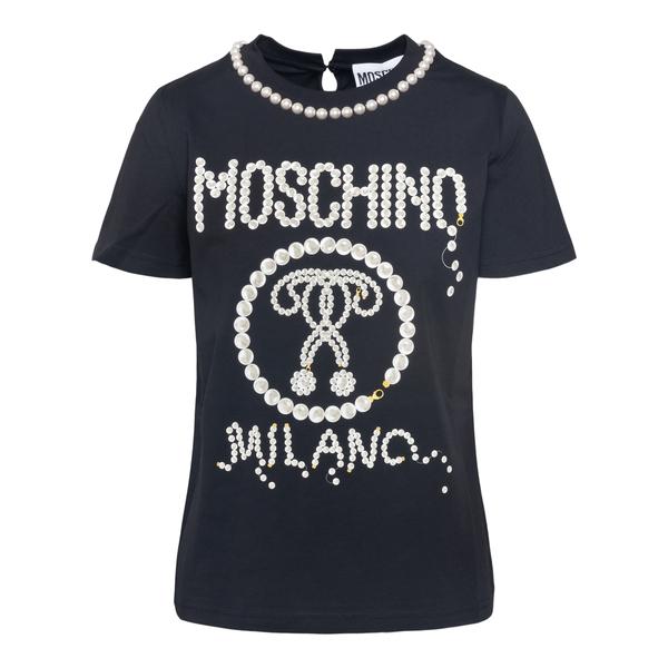 T-shirt nera con applicazioni perle                                                                                                                   Moschino 0706 retro