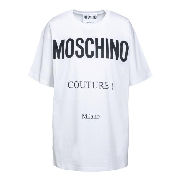 T-shirt bianca con stampa logo                                                                                                                        Moschino 0716 fronte