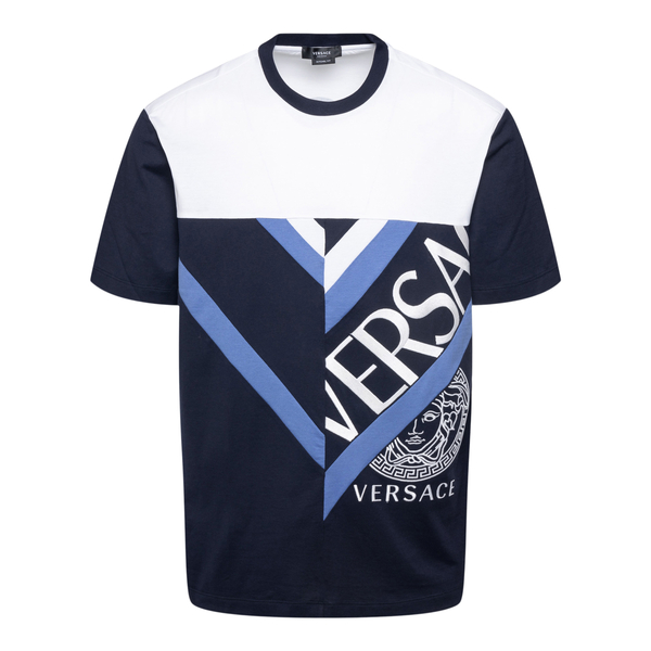 Two-tone T-shirt with brand name                                                                                                                      Versace 1001412 back