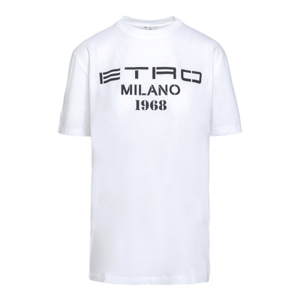 T-shirt bianca con logo                                                                                                                               Etro 14517 fronte