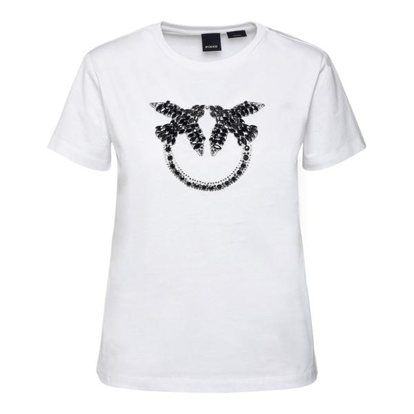 T-shirt bianca con Lover Bird in cristalli                                                                                                            Pinko 1G16JB retro