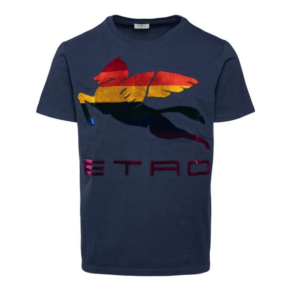 T-shirt blu con cavallo alato                                                                                                                         Etro 1Y020 retro