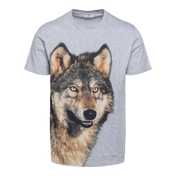 T-shirt grigia con stampa lupo                                                                                                                        Etro 1Y020 retro