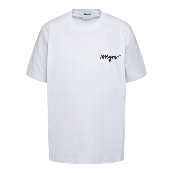 White T-shirt with logo embroidery                                                                                                                    Msgm 2000MDM540 back