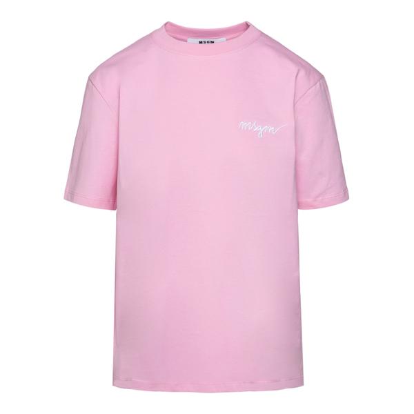 T-shirt rosa con ricamo logo                                                                                                                          Msgm 2000MDM540 retro
