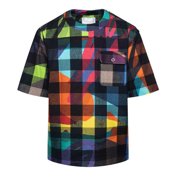 Multicolored checked T-shirt                                                                                                                          Sacai 2102572M back