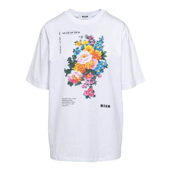 White T-shirt with floral print                                                                                                                       Msgm 3041MDM161 front