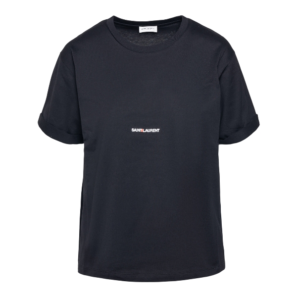 Minimal black T-shirt with brand name                                                                                                                 Saint Laurent 460876 back