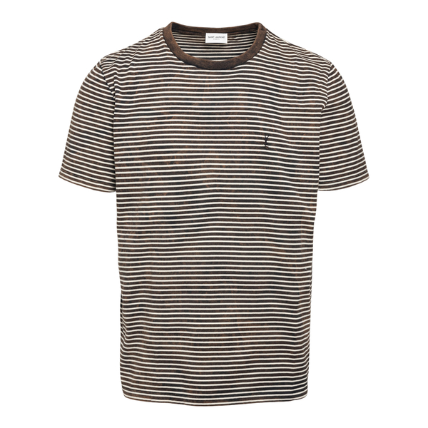 T-shirt bianca e marrone a righe con logo                                                                                                             Saint Laurent 644058 fronte