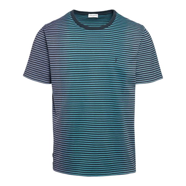 T-shirt blu a righe con logo                                                                                                                          Saint Laurent 648360 retro