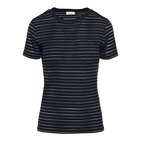 Black t-shirt with horizontal stripes                                                                                                                 Saint Laurent 649119 back