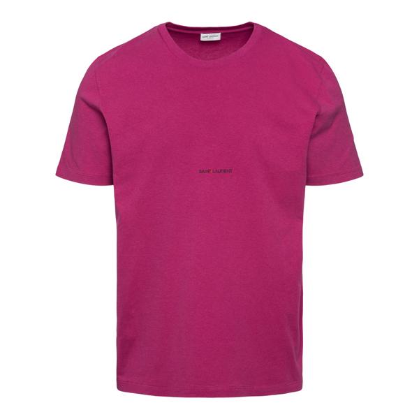 Fuchsia T-shirt with brand name                                                                                                                       Saint Laurent 666167 back