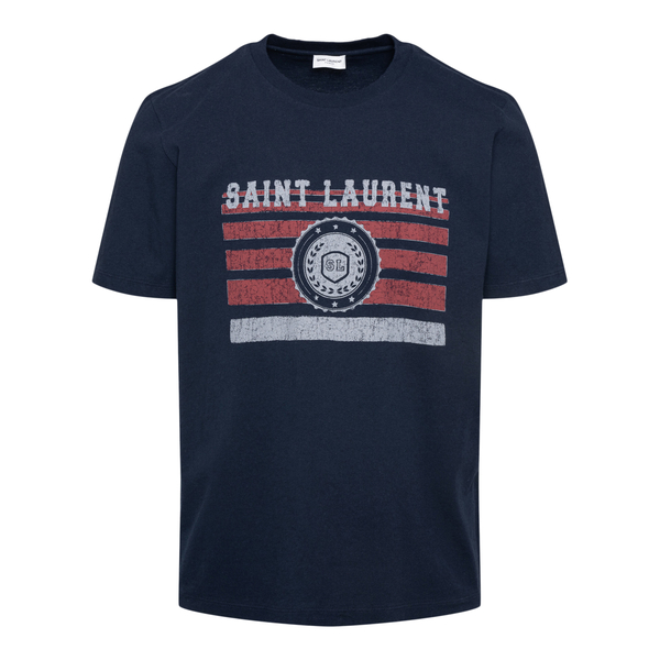 Blue T-shirt with graphic print                                                                                                                       Saint Laurent 668818 back