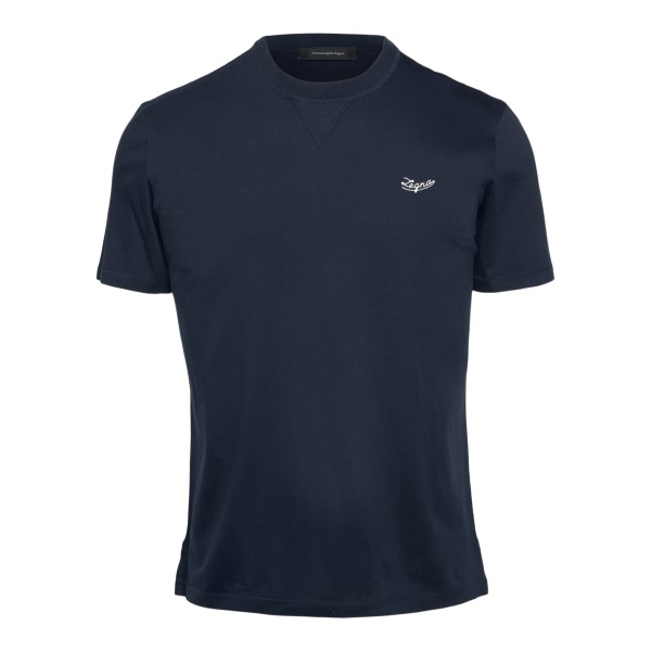Blue T-shirt with logo embroidery                                                                                                                     Zegna 706R back