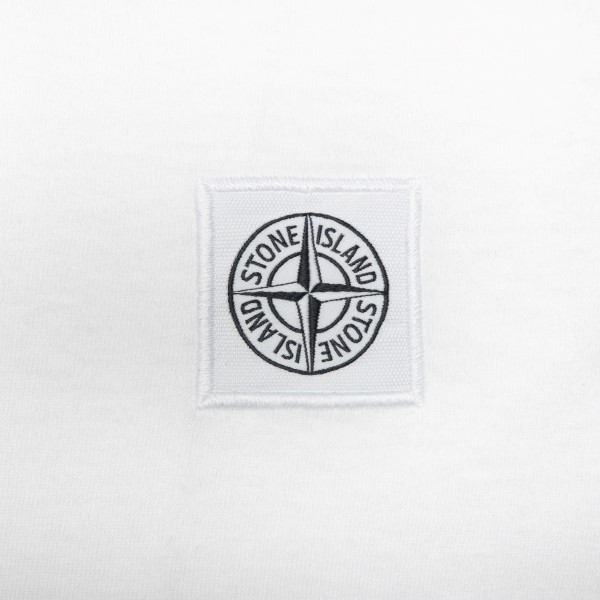 White T-shirt with logo patch                                                                                                                          STONE ISLAND