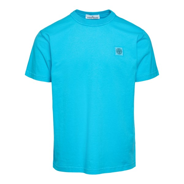 Light blue T-shirt with logo embroidery                                                                                                               Stone island 7415237 front