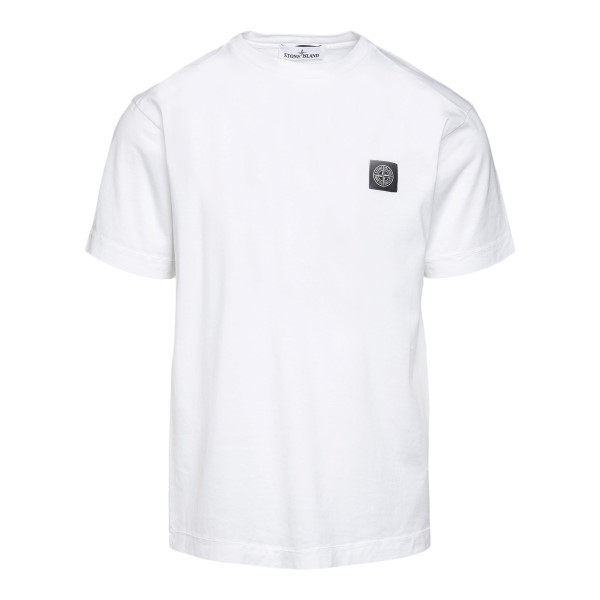 White T-shirt with logo embroidery                                                                                                                    Stone island 7415241 front