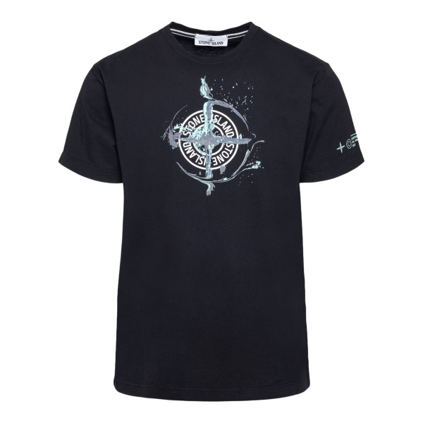 T-shirt nera con stampa logo frontale                                                                                                                 Stone island 74152NS fronte