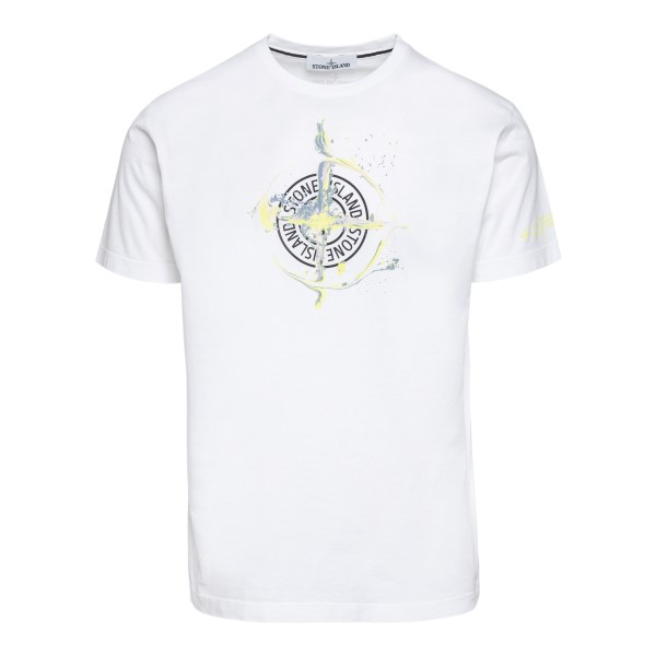 T-shirt bianca con stampa logo                                                                                                                        Stone island 74152NS fronte