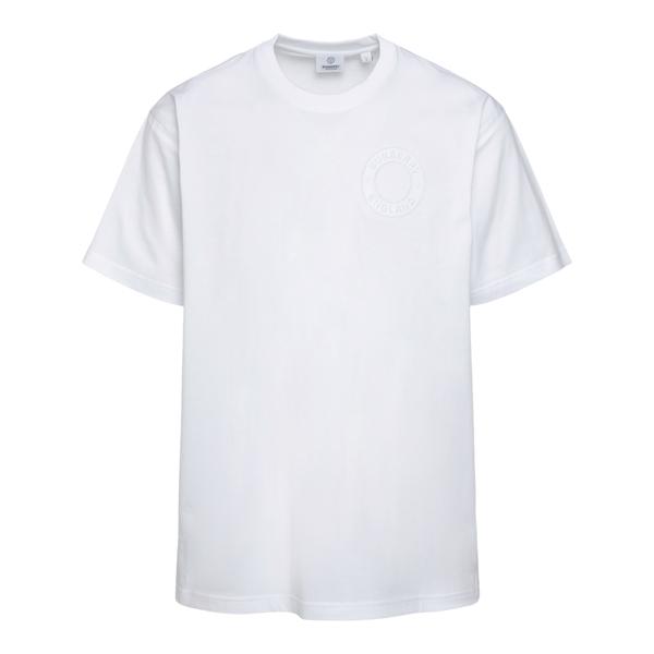 T-shirt bianca con logo a tono                                                                                                                        Burberry 8042233 retro