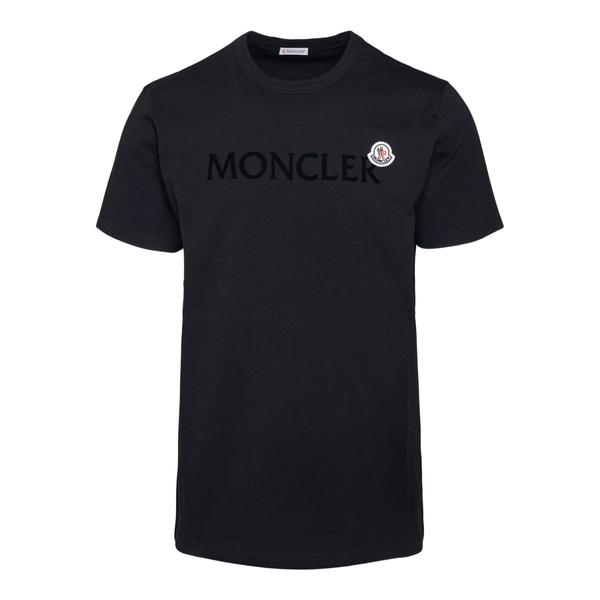 T-shirt nera con nome brand a tono                                                                                                                    Moncler 8C00022 retro