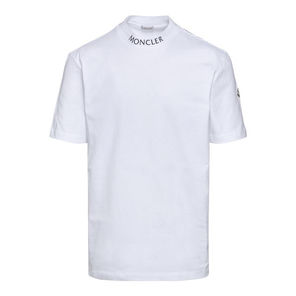 T-shirt bianca con nome brand su colletto                                                                                                             Moncler 8C00025 retro