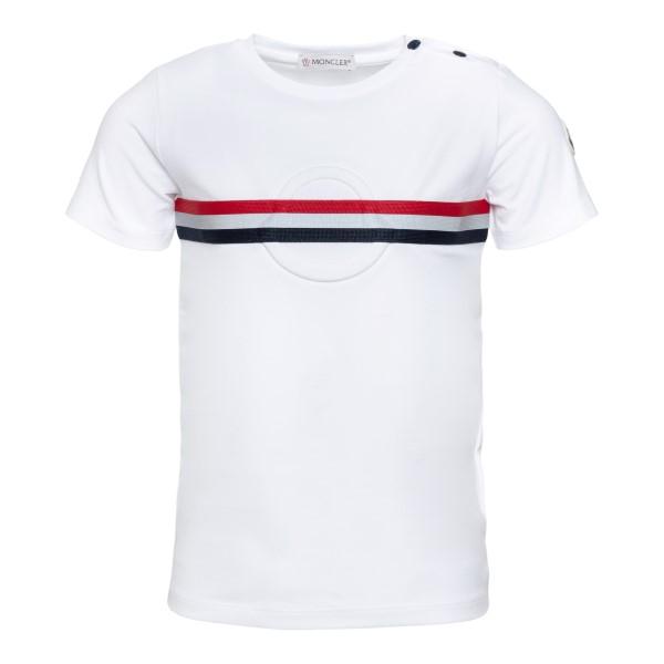T-shirt bianca con dettaglio a righe                                                                                                                  Moncler 8C71920 retro