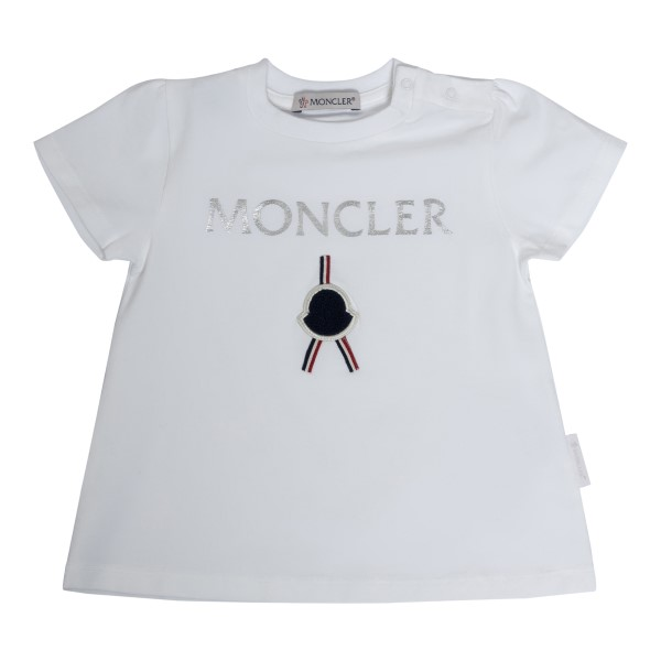 White T-shirt with silver logo                                                                                                                        Moncler 8C72310 back