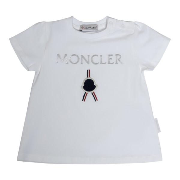 T-shirt bianca con logo argento                                                                                                                       Moncler 8C72310 retro