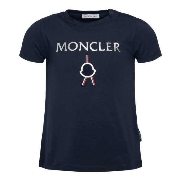 Dark blue T-shirt with silver logo                                                                                                                    Moncler 8C72310 back