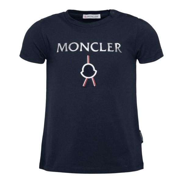 T-shirt blu scuro con logo argento                                                                                                                    Moncler 8C72310 retro