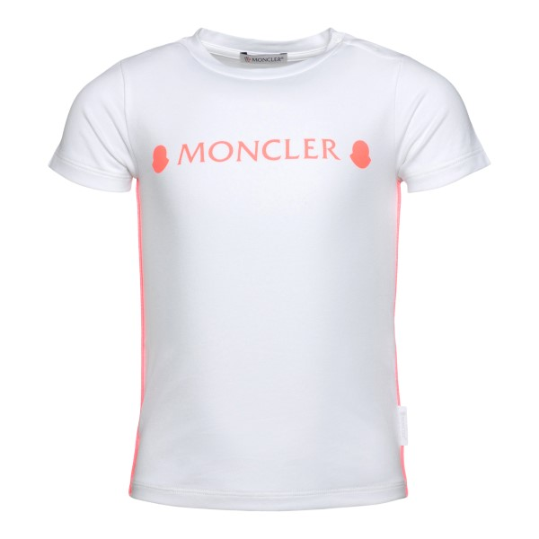 T-shirt bianca con dettagli rosa                                                                                                                      Moncler 8C73610 retro