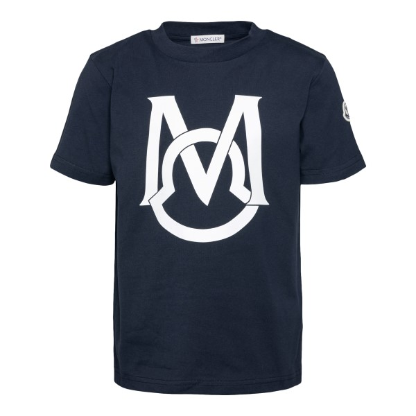 T-shirt blu con stampa logo                                                                                                                           Moncler 8C74220_ retro