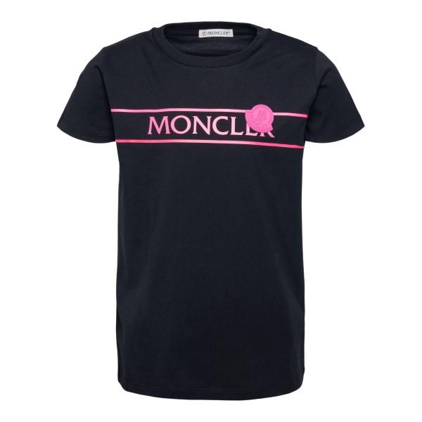 Black T-shirt with fluo print                                                                                                                         Moncler 8C74410_ back