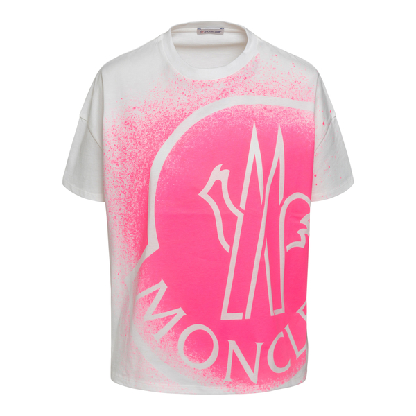 T-shirt bianca con stampa stencil                                                                                                                     Moncler 8C7B310 retro